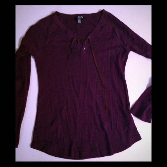 4cb0bdd3 Chaps Tops | Juniors Size Small Burgundy Lace Up Top | Poshmark